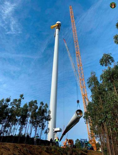 Montaje de parques eólicos en el sur de Chile